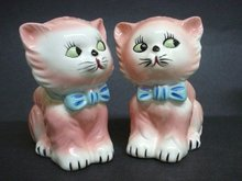PORCELAIN FIGURAL PLANTER PINK KITTY-CAT #1