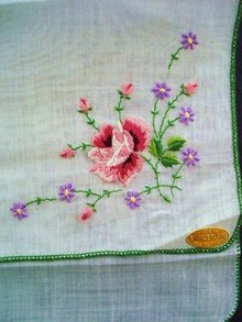 Beautiful EMBROIDERED SWISS HANDKERCHIEF UNUSED