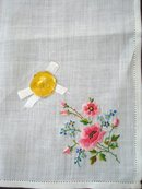 Very Pretty Handkerchief Hanky Made and Embroidered in Switzerland
