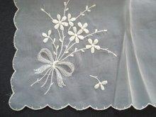 Precious HANKYBarely  Pink Organdy Floral Embroidery Handkerchief