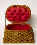 Lovely  Woven Victorian SEWING Basket