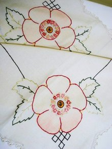 ANTIQUE EMBROIDERED TABLECLOTH
