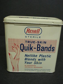 BAND AID TIN BOX ANTIQUE TIN BOX - QUICK-BANDS by REXALL