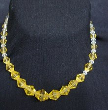 Precious Glass Necklace Amber Colour