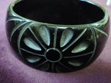 CARVED BAKELITE BRACELET-WIDE-INCREDIBLE SHOW PIECE!
