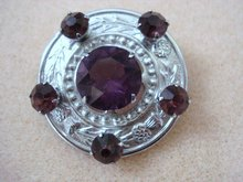 CELTIC BROACH SILVER TONE AMETHYST STONES