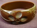 CARVED BAKELITE BRACELET BURNT TOFFEE