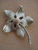 Silver Tone Broach POINSETIA