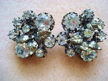 Vintage Rhinestone Clip Earrings by Triad
