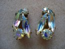 Lustrous Vintage Clip EARRINGS Aurora Borealis