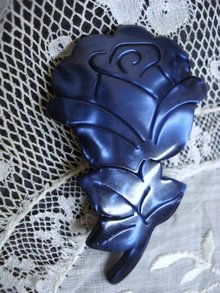 Vintage Celluloid Brooch Blue Rose