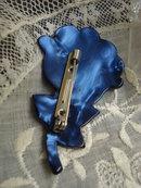 Vintage Celluloid Brooch Blue Rose