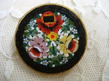 Vintage Mosaic Brooch Signed Italy