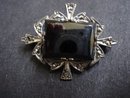 Sterling Brooch Black Alaska Large Stone