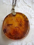Amber Pendant Sterling Chain