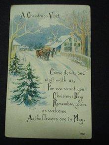 Postcard A Christmas Visit Linen Postcard