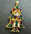 Christmas Tree Brooch Beautiful Jewelled