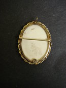 14k Gold and Ivory Scrimshaw Pin Broooch