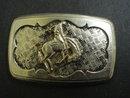 Western Cowboy  Style Belt Buckle Silver Tone
