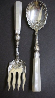 Pearl/ Silver Serving Fork and Spoon