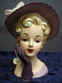 Relpo Head Vase Lady in Purple