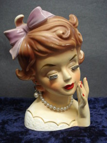 Wonderful Figural Rubens Head Vase - Purple Bow