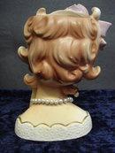 Wonderful Figural Rubens Head Vase - Purple Bow