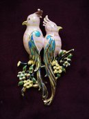 Beautiful Large Brooch - Pair of Parrots