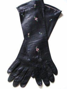 Vintage Embroidered Gloves  Elegant - Long - Black