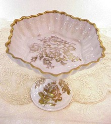 Antique French Porcelain PEDESTAL DISH