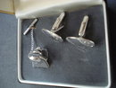 Sterling Cuff Links and Tie Pin Set Boxed