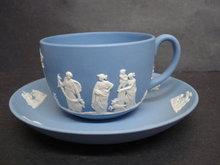 Fabulous Cup & Saucer Jasperware Teacup Set   Circa 1947