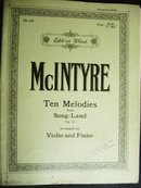 10 Melodies from Song-Land by E V McIntyre
