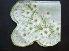 1940-50's Hanky Handkerchief - Green White