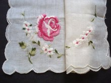 Embroidered vintage Hanky Handkerchief
