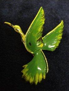 Figural Bird Brooch Pin Emerald Green Enamel