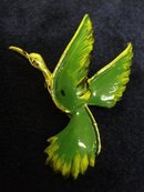 Figural Bird Brooch Pin Emerald Green Enamel