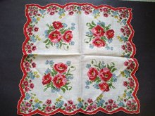 wONDERFUL Unused Printed Handkerchief Hanky Red Pink