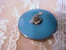 Antique Enamel  Button - Blue / Gold
