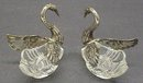 Spectacular Pair SALT CELLARS - Silver Crystal Swans