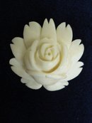 Antique Bone Brooch - White Rose