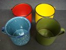 4 Vintage Tin and Enamel Coffee Mugs