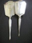Sterling Mirror / Brush Set Monogram B