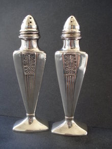 Silver Salt /Pepper Shakers Art Deco