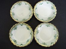 Butterpats Green/White/Gold  Set of Four