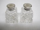 Crystal Salt/Pepper Shakers Sterling Tops