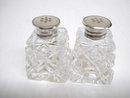 Crystal Salt/Pepper Shakers Sterling Tops
