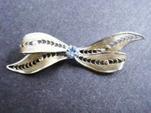 Filigree Broach Silver Tone Bow