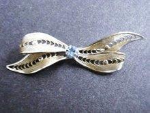 Filigree Broach Silver Tone Bow