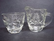 Pressed Glass Cream and Sugar Set